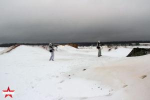 Зимняя игровая площадка для фаертаг игр в Парке Патриот